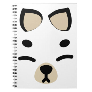 White Kitsune Fox Spiral Note Book