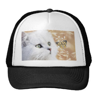 White kitten and butterfly trucker hat