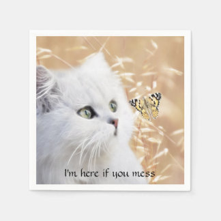 White kitten and butterfly disposable napkin