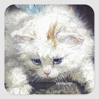 White Kitten Cat Pet Cute Animal Antique painting Square Sticker