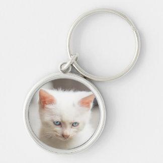 White Kitten Key Ring