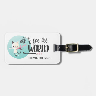 White Kitten Off to See the World | Custom Name Luggage Tag