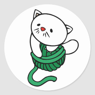 White Kitten with Ball of Yarn Round Sticker
