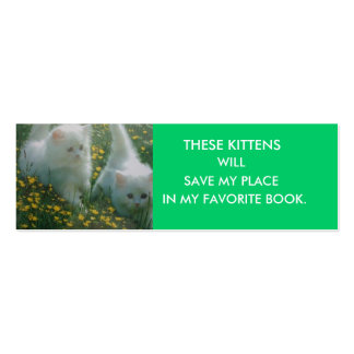 White Kittens Bookmark Business Cards