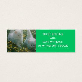 White Kittens Bookmark Mini Business Card