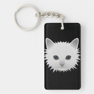 White kitty blue eyes Double-Sided rectangular acrylic key ring