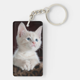 White kitty blue eyes key ring