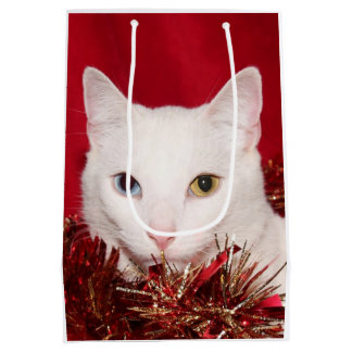 White kitty cat Christmas Medium Gift Bag