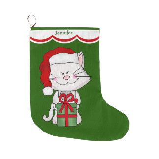 White Kitty Cat Large Christmas Stocking