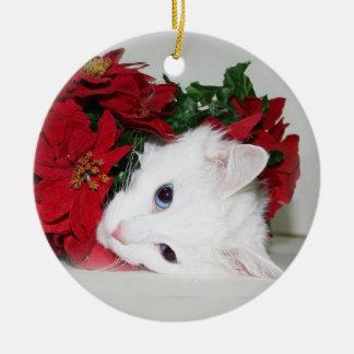 White kitty Christmas Christmas Ornament