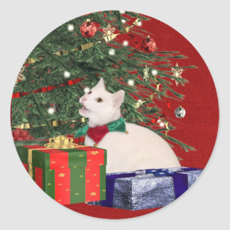 white kitty Christmas Classic Round Sticker