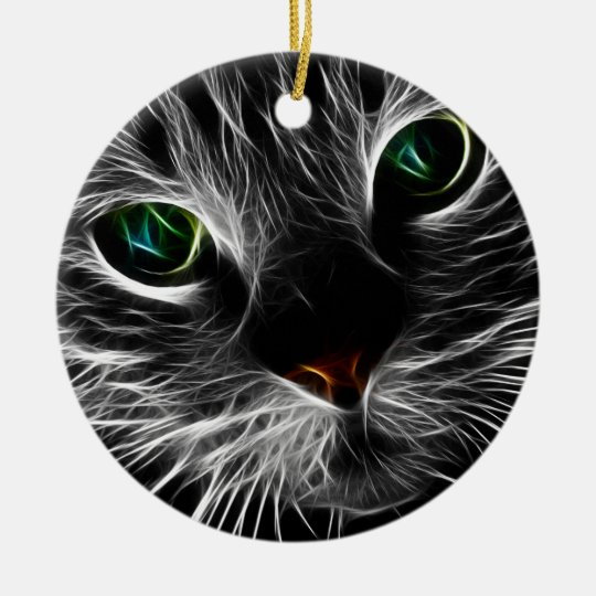 White Kitty Face Abstract | Fractal Kitty Christmas Ornament