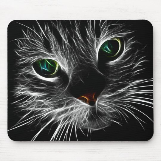 White Kitty Face Abstract   Fractal Kitty Mouse Mat