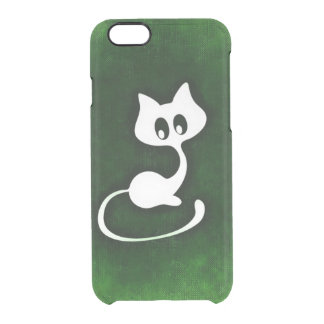 White kitty pattern clear iPhone 6/6S case