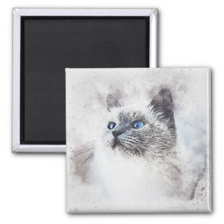 White Kitty Portrait | Abstract | Watercolor Magnet