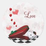 White kitty Valentine Round Sticker