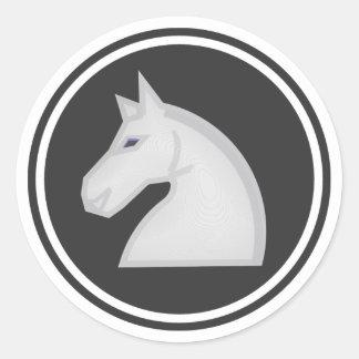White Knight Chess Piece Round Sticker
