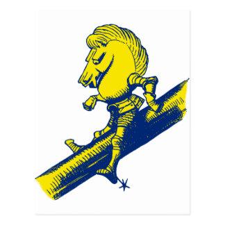 White Knight Inked Blue Yellow Postcard