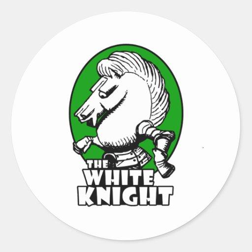 White Knight Logo Green Round Sticker   Zazzle