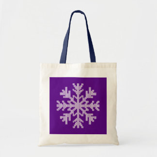 White Knit Snowflake on Holiday Purple Tote Bags