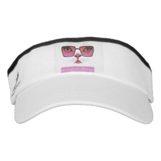 White knit visor with Incognito Kitty (c)