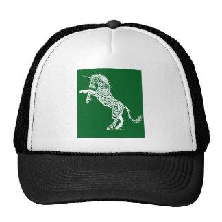 White Knotwork Unicorn on Green Cap
