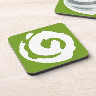 White Koru On Dark Green Drink Coaster