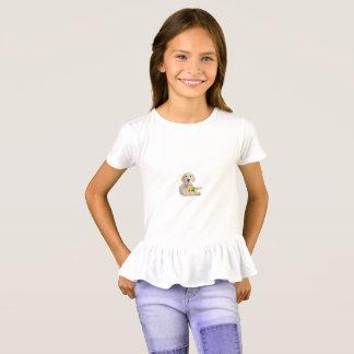 White Labrador Girl's Ruffle Tshirt