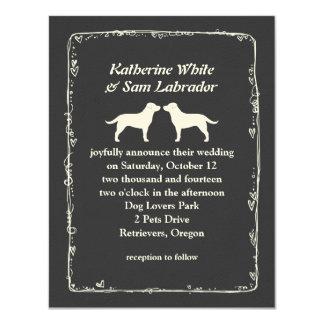 White Labrador Retriever Silhouettes Wedding 11 Cm X 14 Cm Invitation Card