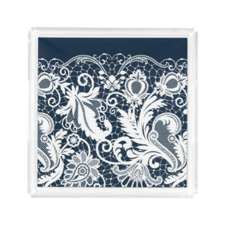 White lace 2 acrylic tray