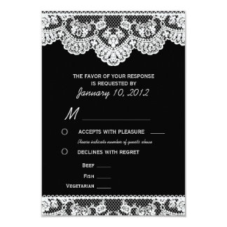 White Lace and Black RSVP with Meal Options 9 Cm X 13 Cm Invitation Card