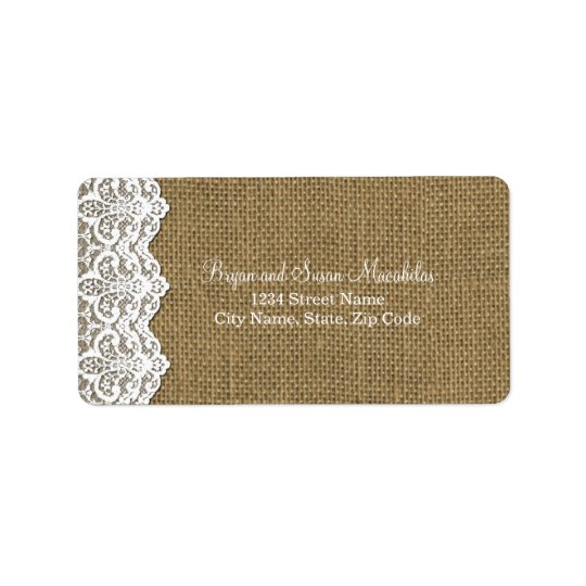 White Lace and Burlap Address Label