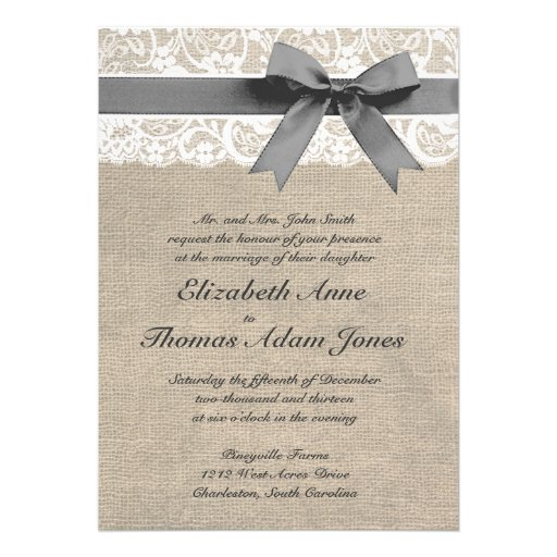 White Lace and Burlap Look Wedding Invitation