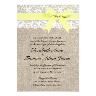 "White Lace and Burlap Wedding Invitation- Yellow 5"" X 7"" Invitation Card"