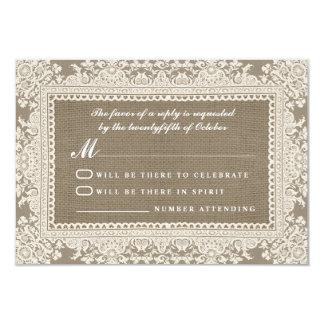 White lace and burlap wedding RSVP cards 9 Cm X 13 Cm Invitation Card