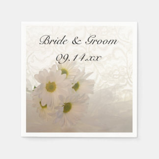 White Lace and Daisies Wedding Paper Napkin