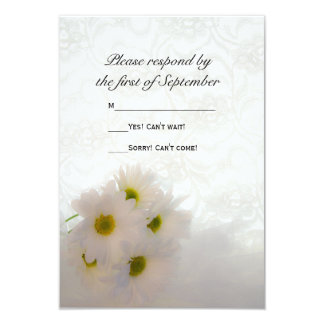 White Lace and Daisies Wedding RSVP 9 Cm X 13 Cm Invitation Card