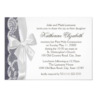 White Lace and Denim First Communion 13 Cm X 18 Cm Invitation Card
