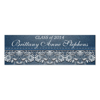 White Lace and Denim Graduation  Insert Pack Of Skinny Business Cards