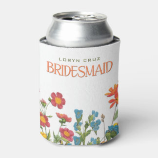 White Lace and Floral #1 Bridesmaid Can Cooler