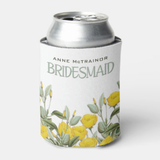 White Lace and Floral #2 Bridesmaid Can Cooler
