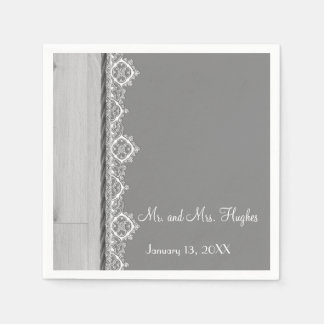 White lace and grey wedding floral wedding disposable napkin