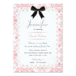 White Lace and Pink Damask Sweet 16 5x7 5x7 Paper Invitation Card
