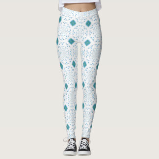 White Lace and Teal Diamonds Print Leggings
