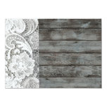 white lace barnwood vintage birthday party 4.5x6.25 paper invitation card