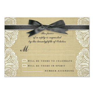 White lace, black ribbon and burlap wedding RSVP 9 Cm X 13 Cm Invitation Card