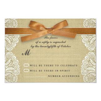 White lace, brown ribbon and burlap wedding RSVP 9 Cm X 13 Cm Invitation Card