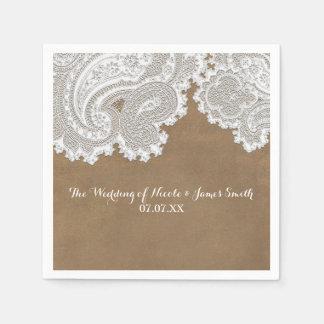 White Lace & Brown Rustic Chic Elegant Wedding Disposable Serviettes