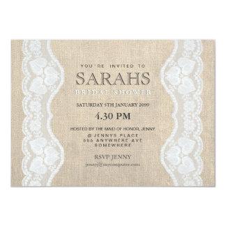 """White Lace & Burlap Bridal Shower Party Invite 4.5"""" X 6.25"""" Invitation Card"""