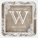 White Lace Burlap Modern Goth Wedding Gift Label Square Sticker